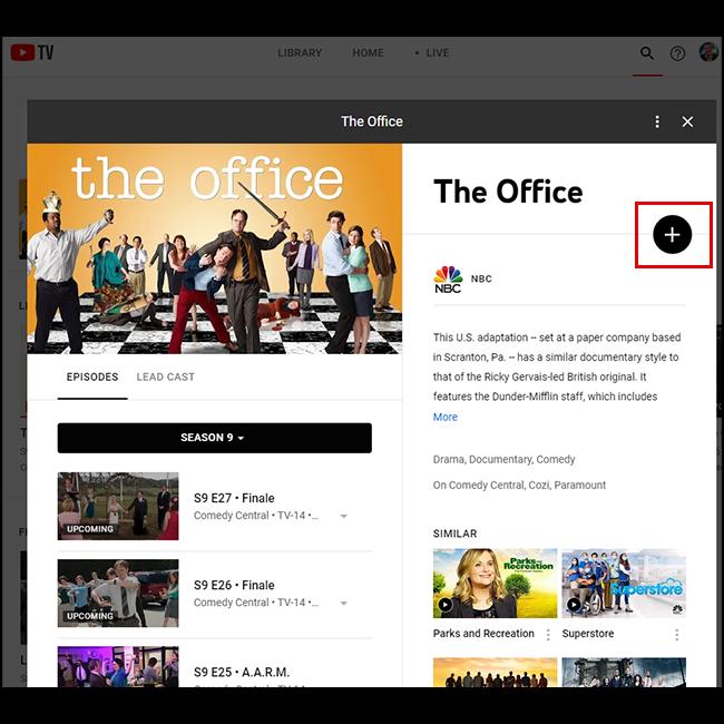 Clique no ícone de adição para salvar o programa ou filme em sua biblioteca!