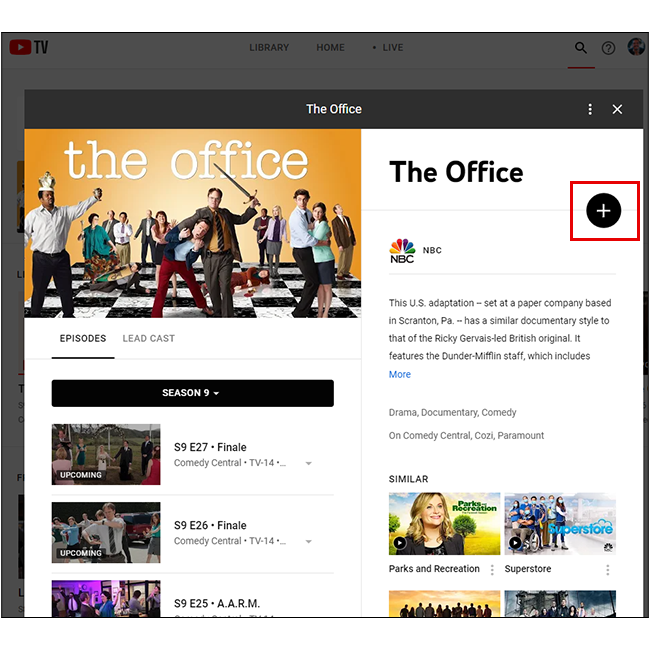 Click the plus icon to save the show or movie to your library!
