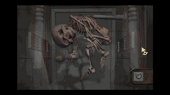 "A skeleton in a scene from ""Zork Nemesis."""