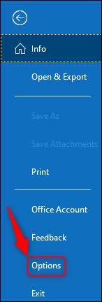 "Outlook's ""Options"" menu option."
