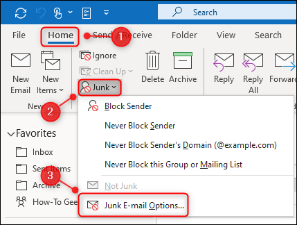 "Outlook's ""Junk E-mail Options"" menu option."