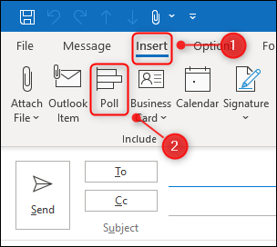 """The """"Poll"""" option on the Insert ribbon tab."""