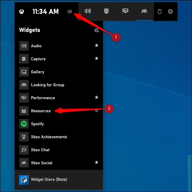 "Click menu and select ""Resources"""