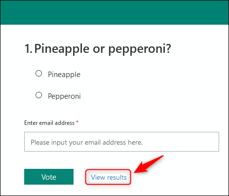 """The """"View results"""" link at the bottom of the poll."""