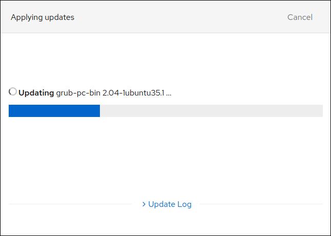 Updates in progress in Cockpit in a browser window