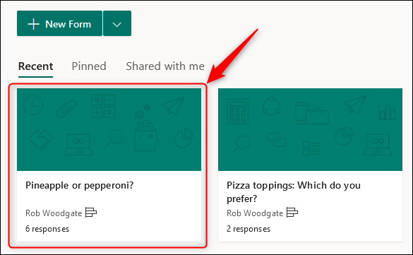 The form created automatically in Microsoft Forms to hold the results of the poll.
