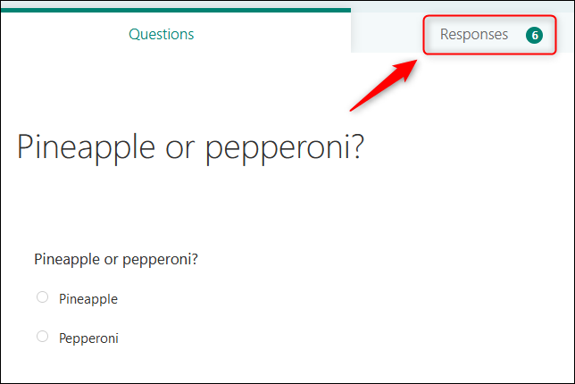 """The """"Responses"""" tab on the form."""