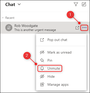 "The ""Unmute"" menu option for a chat."