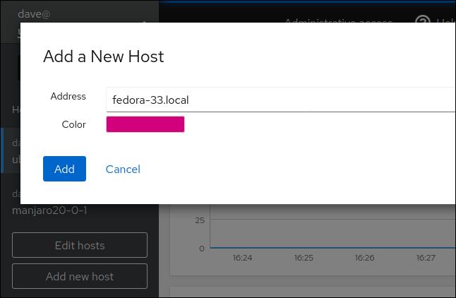 Add a new host window in Cockpit in a browser window