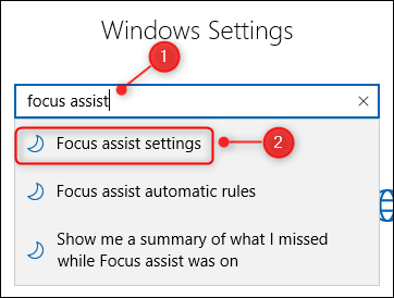 The Windows Settings search box.