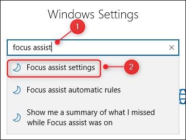 The Windows Settings search box.