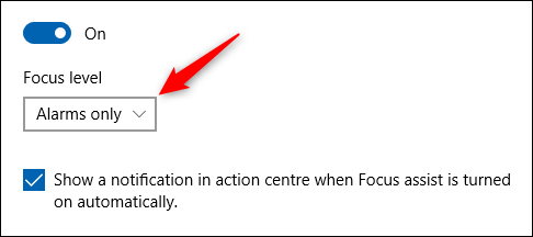 """An example of the """"Focus level"""" dropdown."""