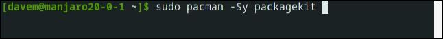 sudo pacman packagekit in a terminal window