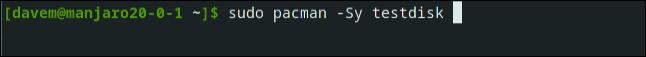 sudo pacman -Sy testdisk in a terminal window.