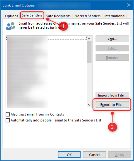 "The ""Safe Senders"" tab and the ""Export to File"" button."