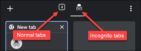 Tap the number for normal tabs, or the hat with glasses for the incognito tabs.