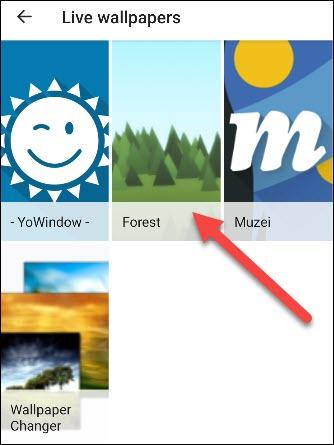 Select a live wallpaper app.
