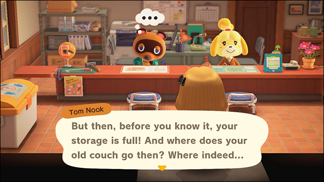 """Tom Nook telling characters about the storage upgrade in """"Animal Crossing: New Horizons."""""""