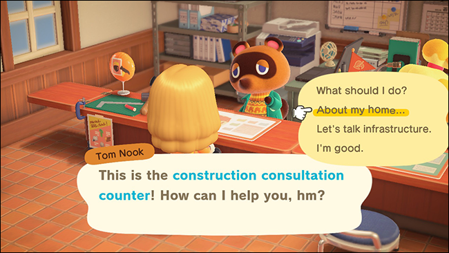 "A character at the construction consultation counter in ""Animal Crossing: New Horizons."""