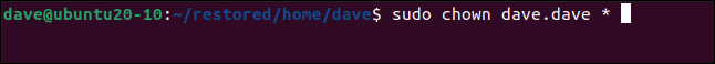 sudo chown dave.dave * in a terminal window.