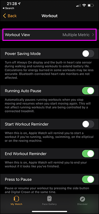 selecting view in apple watch app on iphone