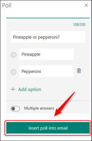 """The """"Insert poll into email"""" button."""