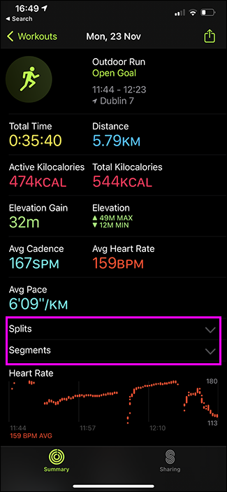 checking splits in fitness app