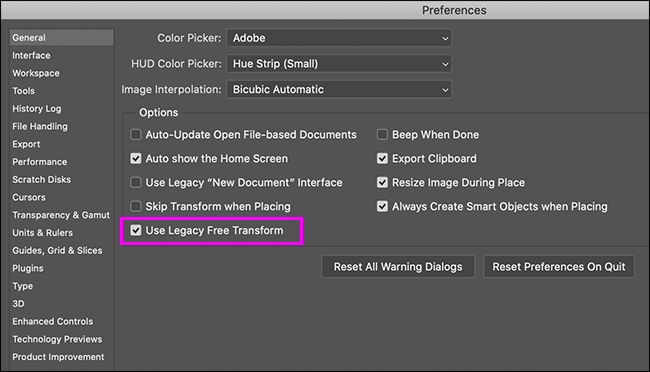photoshop general preferences pane with legacy free transform option highlighted
