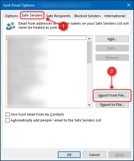 """The """"Safe Senders"""" tab and the """"Import from File"""" button."""