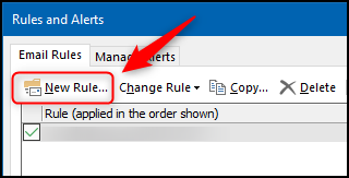 """The """"New Rule"""" option in the """"Rules and Alerts"""" panel."""