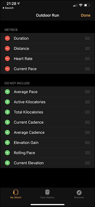 customizing which metrics are display on apple watch app