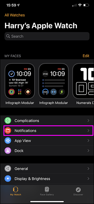 notifications option highlighted apple watch app