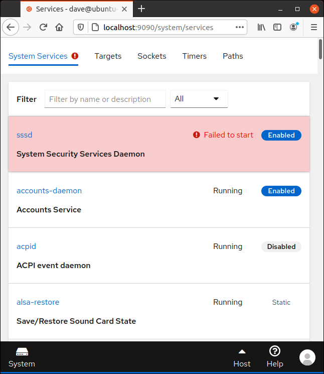 SSSD daemon failure highlighted in Cockpit in a browser window