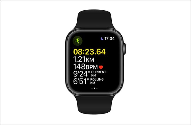 yellow highlighting distance on apple watch