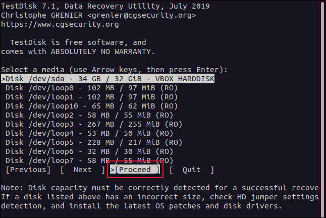 """""""Proceed"""" selected in a terminal window."""