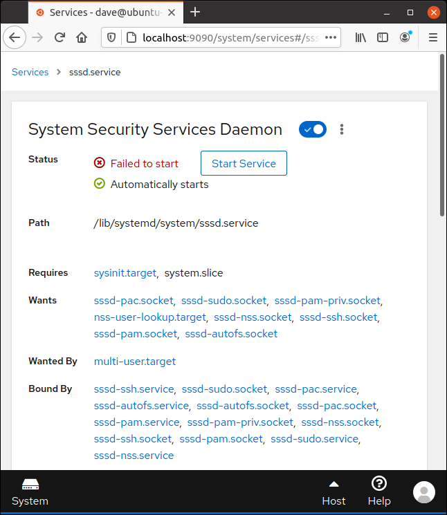 SSSD control page in Cockpit in a browser window