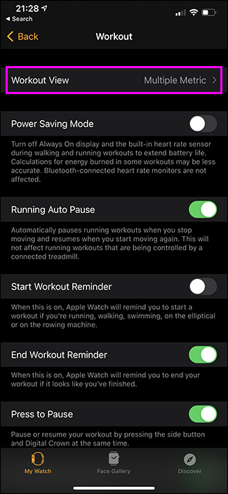 selecting view on watch app on iphone