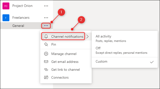 """The """"Channel notifications"""" option."""