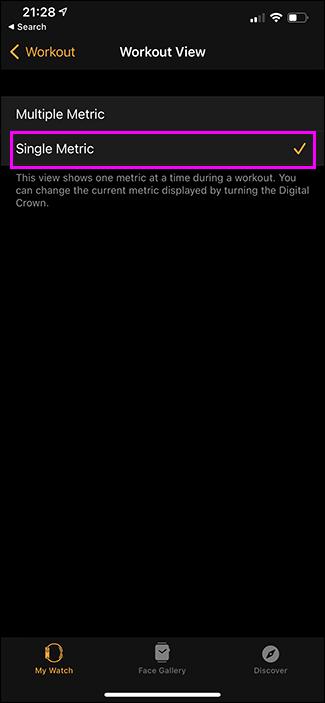 selecting single metric view on apple watch app on iphone