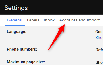 Accounts and Import tab