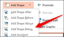 Add Shape Below option