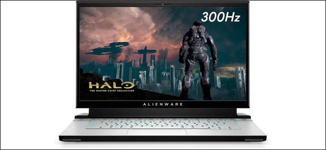 The Alienware m15 gaming laptop with a Halo image displayed on screen.