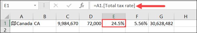 Clique em uma célula para ver que tipo de dados ela contém na Barra de Fórmulas.