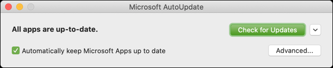 Click the Check for Updates button for Outlook