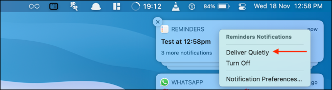 Click Deliver Quietly from Notificatio Center