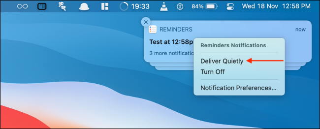 Click Deliver Quietly from Notification