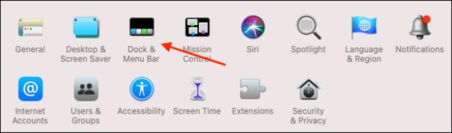 Fare clic su Dock e barra dei menu da Preferenze di Sistema