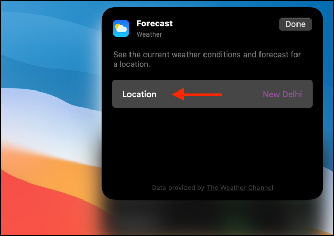 Click Location in Weather Widget