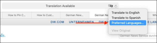 Click Preferred Languages