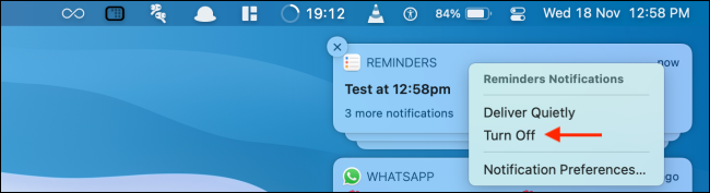 Click Turn off to Disable Notifications from Notification Center